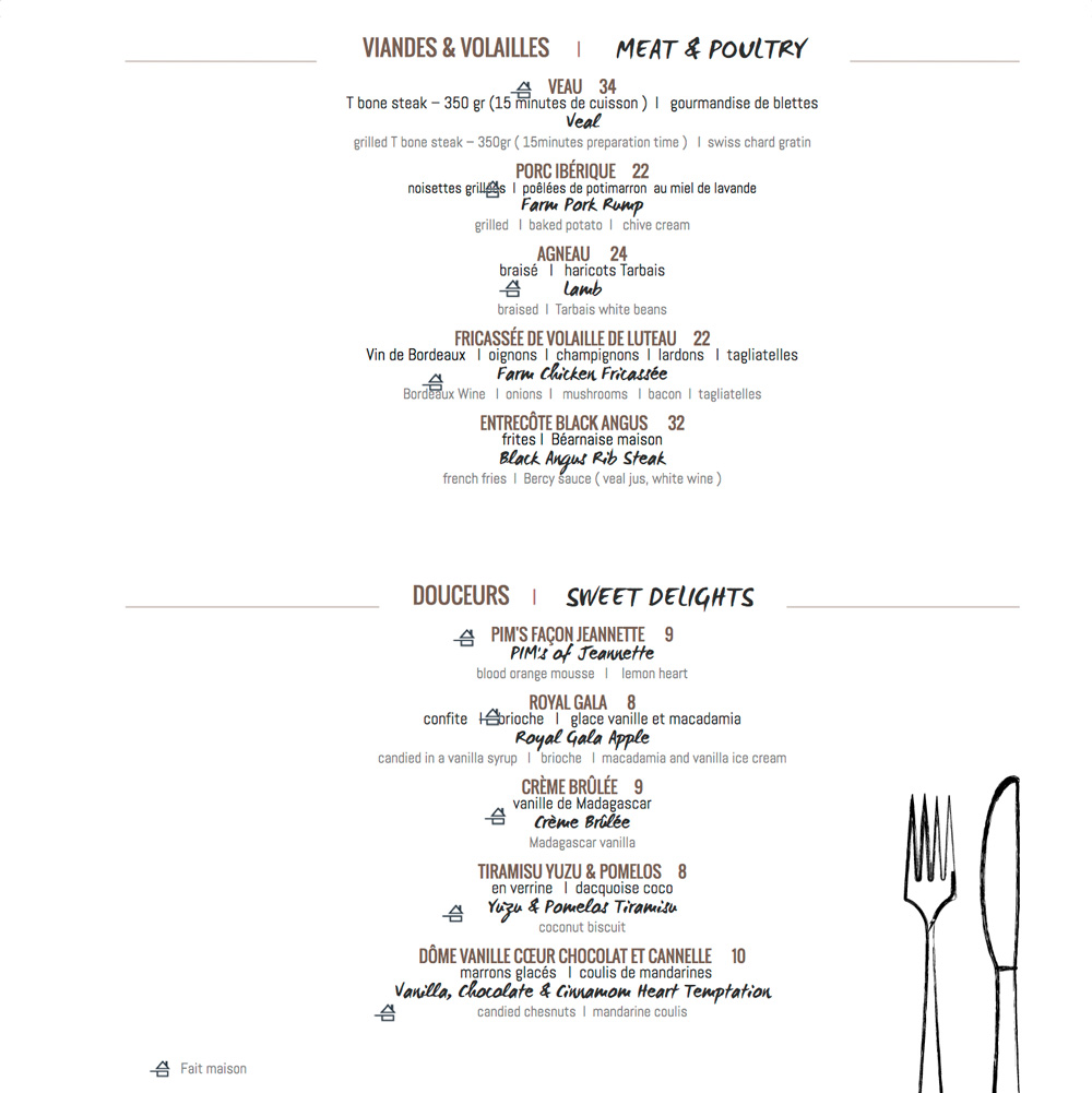 R'Yves menu restaurant
